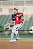 Hagerstown Suns starting pitcher Drew Van Orden (27) in action against the Kannapolis Intimidators at Intimidators Stadium on July 18, 2015 in Kannapolis, North Carolina.  The Intimidators defeated the Suns 1-0.  (Brian Westerholt/Four Seam Images)