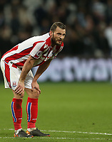 Dejeciton for Stoke City's Erik Pieters at the end of the game<br /> <br /> Photographer Rob Newell/CameraSport<br /> <br /> The Premier League - West Ham United v Stoke City - Monday 16th April 2018 - London Stadium - London<br /> <br /> World Copyright &copy; 2018 CameraSport. All rights reserved. 43 Linden Ave. Countesthorpe. Leicester. England. LE8 5PG - Tel: +44 (0) 116 277 4147 - admin@camerasport.com - www.camerasport.com