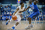 March 4, 2017:   Boise State guard, Marcus Dickinson #0, works the sideline against Falcon, Pervis Louder #22, during the NCAA basketball game between the Boise State Broncos and the Air Force Academy Falcons, Clune Arena, U.S. Air Force Academy, Colorado Springs, Colorado.  Boise State defeats Air Force 98-70.