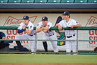 New Orleans Baby Cakes Dustin Beggs, Ben Meyer, and Zac Gallen during a Pacific Coast League game against the Oklahoma City Dodgers on May 6, 2019 at Shrine on Airline in New Orleans, Louisiana.  New Orleans defeated Oklahoma City 4-0.  (Mike Janes/Four Seam Images)