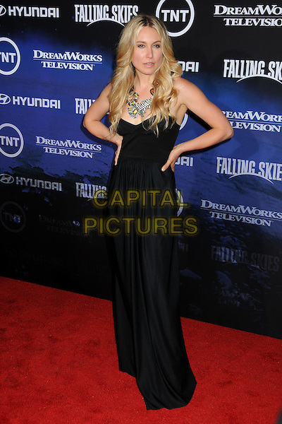 "Sarah Carter.TNT and Dreamworks Television's ""Falling Skies"" Premiere Screening held at the Pacific Design Center, West Hollywood, California, USA, .13th June 2011..full length dress hands on hips long maxi   silver necklace strapless black .CAP/ADM/BP.©Byron Purvis/AdMedia/Capital Pictures."