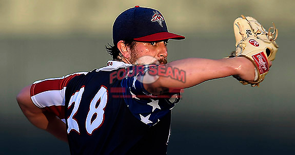 Starting pitcher Blake Taylor (28) of the Columbia Fireflies pitches into the setting sun during a game against the Rome Braves on Monday, July 3, 2017, at Spirit Communications Park in Columbia, South Carolina. Columbia won, 1-0. (Tom Priddy/Four Seam Images)