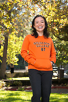 Dr. Cheryl Okumura, Assistant Professor of Biology, poses for an Oxy Wear photoshoot on September 14, 2012. <br /> (Photo by Marc Campos, Occidental College Photographer)