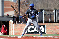 ELON, NC - MARCH 1: Ellison Hannah II #24 of Indiana State University waits for a pitch during a game between Indiana State and Elon at Walter C. Latham Park on March 1, 2020 in Elon, North Carolina.