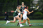 TAMPA, FL - MAY 20: Jessica Dussing #15 of the Le Moyne Dolphins defends Aubriana Benedetto #8 of the Florida Southern Mocs during the Division II Women's Lacrosse Championship held at the Naimoli Family Athletic and Intramural Complex on the University of Tampa campus on May 20, 2018 in Tampa, Florida. Le Moyne defeated Florida Southern 16-11 for the national title. (Photo by Jamie Schwaberow/NCAA Photos via Getty Images)
