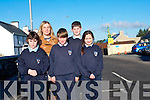 Teachers and students at Gneeveguilla National School  are calling for traffic calming measures including amber flashing lights outside the local school. <br /> Front L-R Luke Tyndall, Dawid Herdizk and Megan McCarthy. <br /> Back L-R Principal Geraldine Shanahan and Ronan Collins.