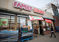 A newly renovated Family Dollar store in the Bedford-Stuyvesant neighborhood of Brooklyn in New York is seen on Sunday, November 20, 2011. As with other dollar stores Family Dollar has added freezers and refrigerator cases for frugal food buyers. (© Richard B. Levine)