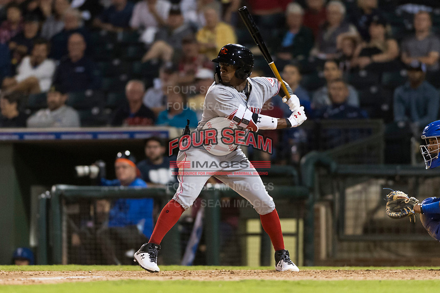 AFL East second baseman Shed Long (6), of the Salt River Rafters and the Cincinnati Reds organization, at bat during the Arizona Fall League Fall Stars game at Surprise Stadium on November 3, 2018 in Surprise, Arizona. The AFL West defeated the AFL East 7-6 . (Zachary Lucy/Four Seam Images)