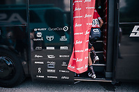 Niklas Eg (DEN/Trek-Segafredo) entering the teambus<br /> <br /> stage 15: Tolmezzo &ndash; Sappada (176 km)<br /> 101th Giro d'Italia 2018