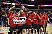 Washington, DC - MAR 11, 2018: The Davidson Wildcats players celebrate after winning the Atlantic 10 men's basketball championship between Davidson and Rhode Island at the Capital One Arena in Washington, DC. (Photo by Phil Peters/Media Images International)