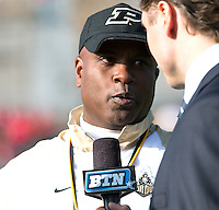 Purdue head coach Darrell Hazell. The Ohio State Buckeyes defeated the Purdue Boilermakers 56-0 at Ross-Ade Stadium, West Lafayette, Indiana on November2, 2013.