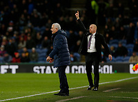 7th March 2020; Turf Moor, Burnley, Lanchashire, England; English Premier League Football, Burnley versus Tottenham Hotspur; Tottenham Hotspur manager Jose Mourinho and Burnley manager Sean Dyche shout instructions to their teams from the technical area