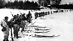 17th October 1939: Finnish troops on skis on the Russo-Finnish borders.