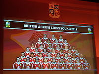 London, England.  The full squad is displayed during the 2013 British and Irish Lions tour squad and captain announcement at London Syon Park Hotel on April 30, 2013 in London, England.