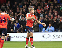 Cameron McGeehan of Luton Town celebrates his goal during the Sky Bet League 2 match between Luton Town and Mansfield Town at Kenilworth Road, Luton, England on 22 October 2016. Photo by Liam Smith.
