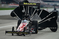 Sept. 1, 2012; Claremont, IN, USA: NHRA top fuel dragster driver Tommy Johnson Jr during qualifying for the US Nationals at Lucas Oil Raceway. Mandatory Credit: Mark J. Rebilas-