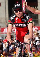 Australian  cyclist Cadel Evans    of the Blmc Racing   Team  attends his team's presentation for the 96th Giro d'Italia cycling tour at Piazza del Plebiscito in Naples                                                                                                             NAPOLI 03/05/2013 PRESENTAZIONE DEI CORRIDORI DEL 96° GIRO D'ITALIA.NELLA FOTO .FOTO CIRO DE LUCA