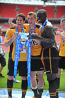Newport County players celebrate on winning promotion during the Newport County v Wrexham Blue Sq. Bet Premier league playoff final at Wembley Stadium, London, England Sunday 5th May 2013. Credit for pictures to Jeff Thomas Photography - www.jaypics.photoshelter.com - 07837 386244 - Use of images are restricted without prior permission of the copyright owner Jeff Thomas Photography.