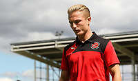 Fleetwood Town player Kyle Dempsey inspects the pitch on arrival at the Sixfields Stadium<br /> <br /> Photographer Andrew Kearns/CameraSport<br /> <br /> The EFL Sky Bet League One - Northampton Town v Fleetwood Town - Saturday August 12th 2017 - Sixfields Stadium - Northampton<br /> <br /> World Copyright &copy; 2017 CameraSport. All rights reserved. 43 Linden Ave. Countesthorpe. Leicester. England. LE8 5PG - Tel: +44 (0) 116 277 4147 - admin@camerasport.com - www.camerasport.com
