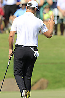 Jon Rahm (ESP) sinks his birdie putt on the 18th green during Friday's Round 2 of the 2017 PGA Championship held at Quail Hollow Golf Club, Charlotte, North Carolina, USA. 11th August 2017.<br /> Picture: Eoin Clarke | Golffile<br /> <br /> <br /> All photos usage must carry mandatory copyright credit (&copy; Golffile | Eoin Clarke)