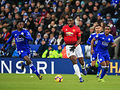3rd February 2019, King Power Stadium, Leicester, England; EPL Premier League Football, Leicester City versus Manchester United; Paul Pogba of Manchester United runs clear chased by Wilfred Ndidi of Leicester City
