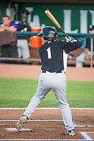 Brendan Rodgers (1) of the Grand Junction Rockies at bat against the Ogden Raptors in Pioneer League action at Lindquist Field on July 6, 2015 in Ogden, Utah.Ogden defeated Grand Junction 8-7.  (Stephen Smith/Four Seam Images)