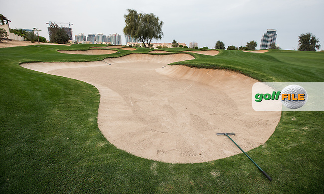 5th fairway bunkers at The Els Club , Dubai, United Arab Emirates.  28/01/2016. Picture: Golffile | David Lloyd<br /> <br /> All photos usage must carry mandatory copyright credit (&copy; Golffile | David Lloyd)