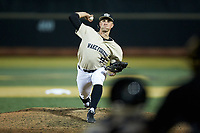 Wake Forest Demon Deacons relief pitcher Rayne Supple (9) in action against the Liberty Flames at David F. Couch Ballpark on April 25, 2018 in  Winston-Salem, North Carolina.  The Demon Deacons defeated the Flames 8-7.  (Brian Westerholt/Four Seam Images)