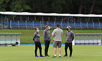 Woluwe's head coach Audrey Demoustier (left), Woluwe's goalkeeper coach Cedric Dubois (middle), Woluwe's assistant coach Karim Attanjaoui (left) discuss with the video analyst before a female soccer game between FC Femina White Star Woluwe and Dames Zulte Waregem  on the first matchday of the 2020 - 2021 season of Belgian Women's SuperLeague , Friday 28 of August 2020  in Sint Lambrechts Woluwe , Belgium . PHOTO SPORTPIX.BE | SPP | SEVIL OKTEM