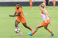 Houston, TX - Saturday July 08, 2017: Nichelle Prince and Camille Levin warming up prior to a regular season National Women's Soccer League (NWSL) match between the Houston Dash and the Portland Thorns FC at BBVA Compass Stadium.
