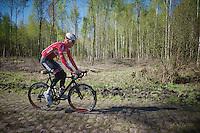 Marcel Sieberg (DEU/Lotto-Belisol) down the Arenberg cobbles<br /> <br /> 2014 Paris - Roubaix reconnaissance