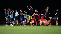 LAKE BUENA VISTA, FL - JULY 26: Sporting KC bench cheer after a shootout save by their goalkeeper during a game between Vancouver Whitecaps and Sporting Kansas City at ESPN Wide World of Sports on July 26, 2020 in Lake Buena Vista, Florida.