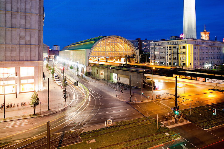 Alexanderplatz railway station by night, view from Karl-Liebknecht street, Berlin, Germany