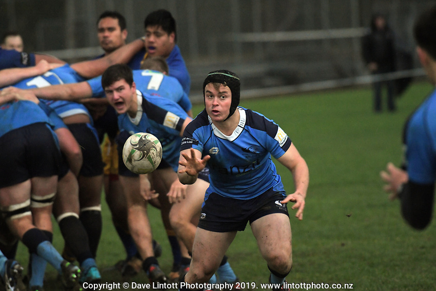 Action from the 2019 Manawatu premier club rugby union match between Freyberg and Varsity at Colquhoun Park in Palmerston North, New Zealand on Saturday, 1 June 2019. Photo: Dave Lintott / lintottphoto.co.nz