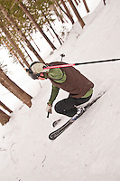 Inventor David Ollila skis his Marquette Backcountry Ski near Marquette Michigan.