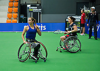December 20, 2014, Rotterdam, Topsport Centrum, Lotto NK Tennis, Wheelchair doubles final Jiske Griffioen (L) and het partner Aniek van Koot<br /> Photo: Tennisimages/Henk Koster