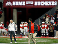 Ohio State Buckeyes head coach Urban Meyer on the field before the NCAA football game at Ohio Stadium on Saturday, November 1, 2014. (Columbus Dispatch photo by Jonathan Quilter)