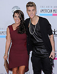 Justin Bieber and mom Patty at The 2012 American Music  Awards held at Nokia Theatre L.A. Live in Los Angeles, California on November 18,2012                                                                   Copyright 2012  DVS / Hollywood Press Agency