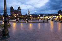 Peru, Cusco.  Plaza de Armas at Night.