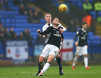Bolton Wanderers' Josh Vela  challenges for the ball against Oliver Norwood of Fulham <br /> <br /> Photographer Leila Coker/CameraSport<br /> <br /> The EFL Sky Bet Championship - Bolton Wanderers v Fulham - Saturday 10th February 2018 - Macron Stadium - Bolton<br /> <br /> World Copyright &copy; 2018 CameraSport. All rights reserved. 43 Linden Ave. Countesthorpe. Leicester. England. LE8 5PG - Tel: +44 (0) 116 277 4147 - admin@camerasport.com - www.camerasport.com