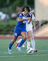 In a National Women's Soccer League Elite (NWSL) match, the Boston Breakers defeated the FC Kansas City, 1-0, at Dilboy Stadium on August 10, 2013.  Boston Breakers forward Lianne Sanderson (10)