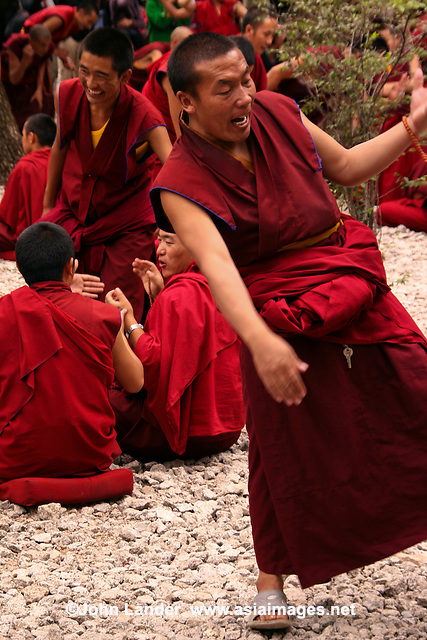 Debating Monks at Sera Monastery - One of the striking features of Tibetan monk debates is that they are quite physical. They are marked by emphatic gestures such as the loud clapping of hands used by the questioner to punctuate each question.  These gestures have great symbolic value though debaters are rarely aware of such symbolic meanings, at the time. For them, the clapping and gestures  bring them a clarity that can help mobilize the intellectual capacities of the debaters and capture the attention of the audience.