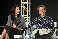"""PASADENA - JANUARY 13: (L-R) Executive Producers Francie Calfo and Brian Grazer during the """"GENIUS: PICASSO"""" panel at the NATIONAL GEOGRAPHIC portion of the 2018 Winter TCA Press Tour at the Langham Huntington Hotel on January 13, 2018, in Pasadena, California. (Photo by Frank Micelotta/National Geographic/PictureGroup)"""