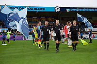 The teams come out for the Carabao Cup match between Wycombe Wanderers and Fulham at Adams Park, High Wycombe, England on 8 August 2017. Photo by Alan  Stanford / PRiME Media Images.