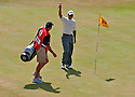 Tiger Woods (USA) salutes the crowd having holed his second shot on the 14th hole during the second round of the Open Championship at Royal Liverpool Golf Club, Hoylake, on July 21st, 2006. Picture Credit / Phil Inglis