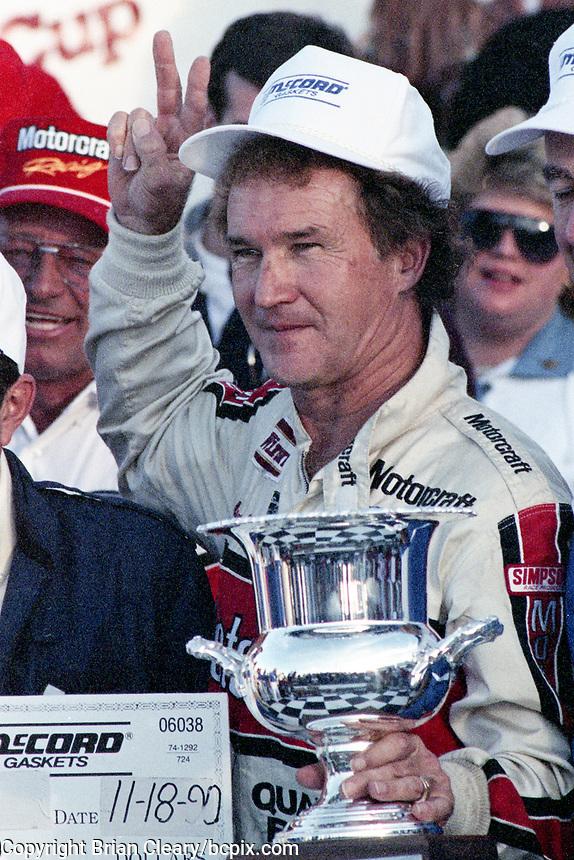 Morgan Shepherd, victory lane ,Atlanta Journal 500, Atlanta Motor Speedway, Hampton, GA, November 18, 1990. (Photo by Brian Cleary/bcpix.com)