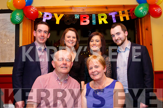 With way too many guests to be in the photograph, Kathleen Curtin from Tralee, sits next to her husband Gerard last Saturday night in Stokers Lodge, Tralee while celebrating her 60th birthday, back L-R Simon Stokes, Claire Curtin with Elaine&Fergal O'Donoghue.