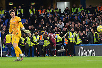 Stewards surround Aaron Cresswell after going one nil up during Chelsea vs West Ham United, Premier League Football at Stamford Bridge on 30th November 2019