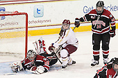 Chloe Desjardins (NU - 29), Melissa Bizzari (BC - 4), Hayley Scamurra (NU - 14) - The Boston College Eagles defeated the Northeastern University Huskies 3-0 on Tuesday, February 11, 2014, to win the 2014 Beanpot championship at Kelley Rink in Conte Forum in Chestnut Hill, Massachusetts.