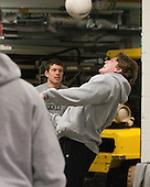 Justin Breton (Bentley - 3), Andrew Gladiuk (Bentley - 12) - The visiting Bentley University Falcons defeated the Boston University Terriers 4-1 (EN) on Saturday, December 14, 2013, at Agganis Arena in Boston, Massachusetts.